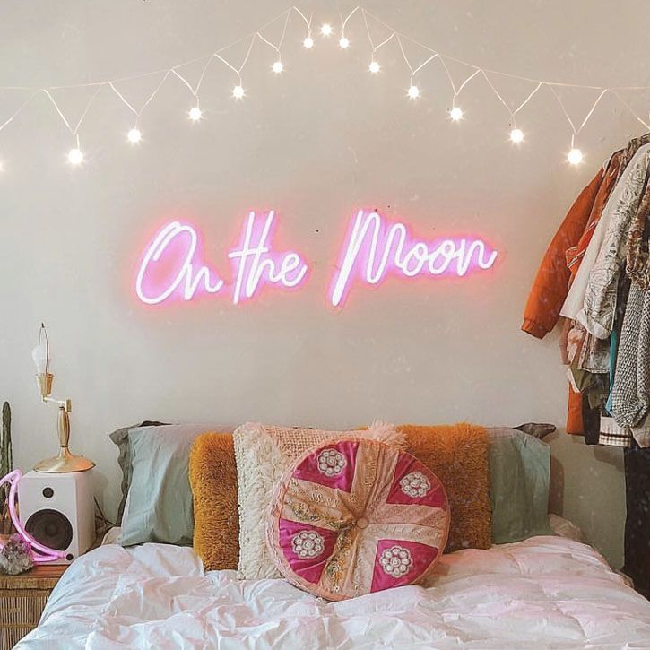Bedroom with On the Moon Neon Sign 20+ Aesthetic Bedrooms