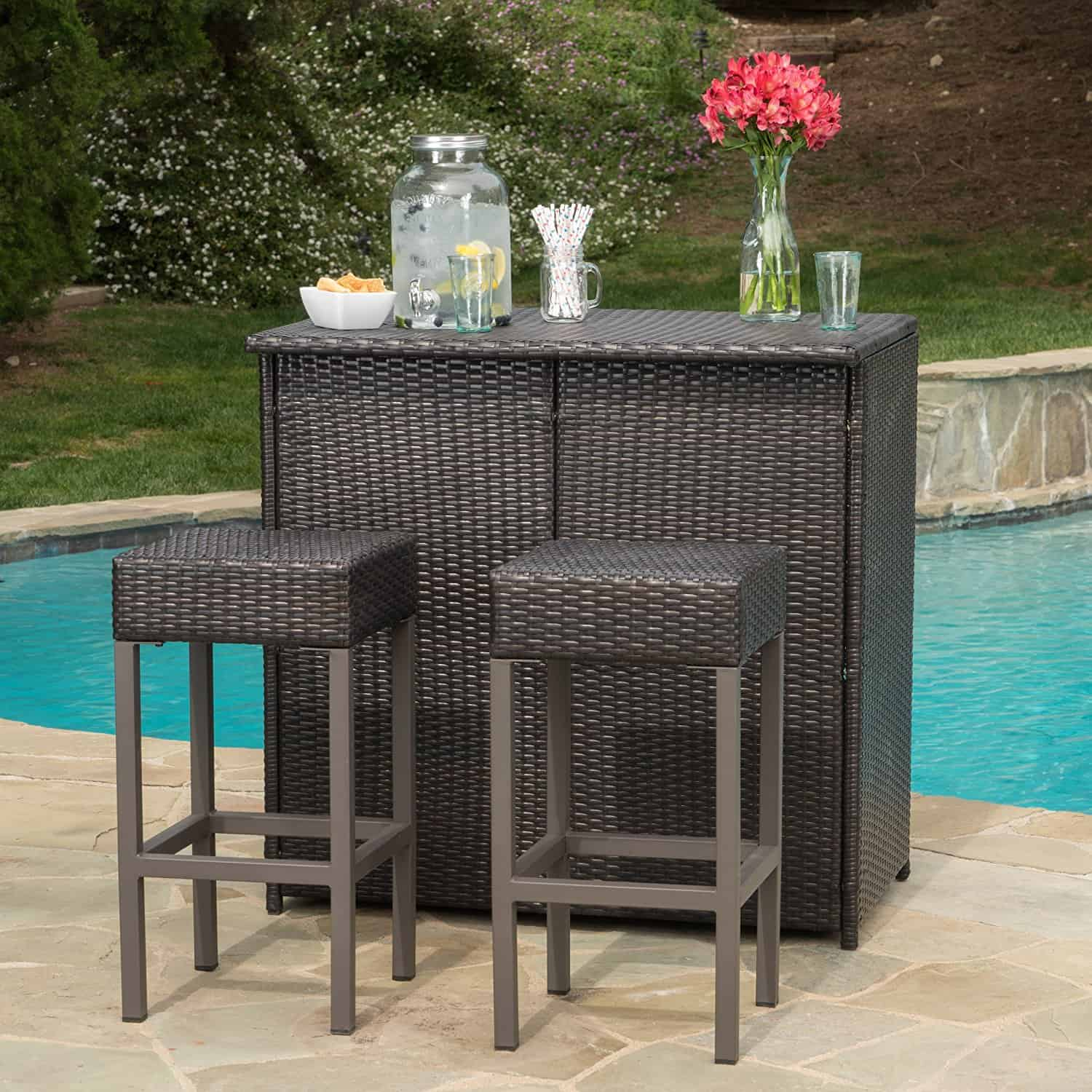 Oneida Patio Furniture Outdoor Wicker Bar Island Set