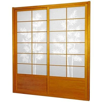 Oriental Furniture 7 ft. Tall Bamboo Tree Shoji Sliding Door Kit - Honey