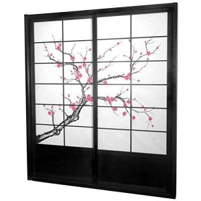 Oriental Furniture 7 ft. Tall Cherry Blossom Shoji Sliding Door Kit - Black