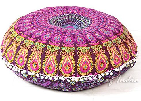 PURPLE MANDALA FLOOR PILLOW CUSHION COVER HIPPIE Decorative Bohemian Decor