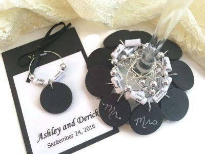 Personalized Wedding Wine Glass Charm Favors