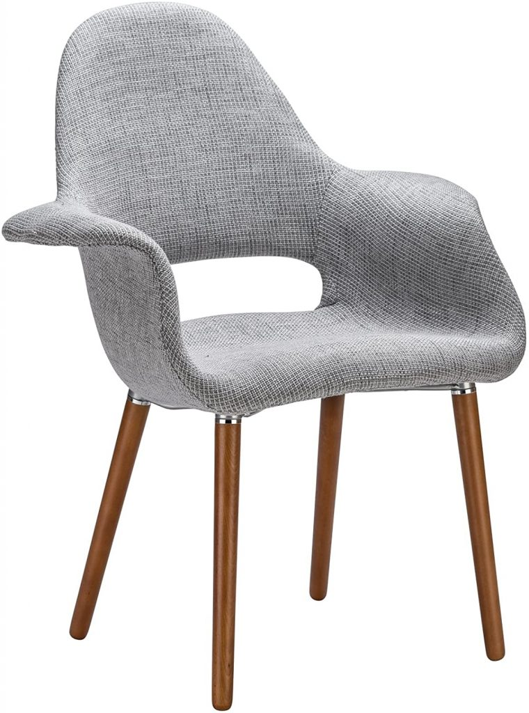 Poly and Bark Barclay Upholstered Fabric Modern Dining Arm Chair with Wooden Legs, Light Grey (Set of 2)