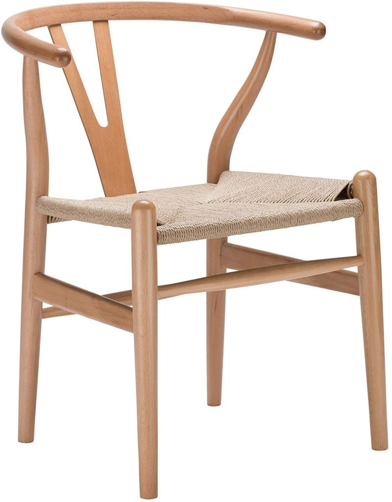 Poly and Bark Weave Modern Wooden Mid-Century Dining Chair, Hemp Seat