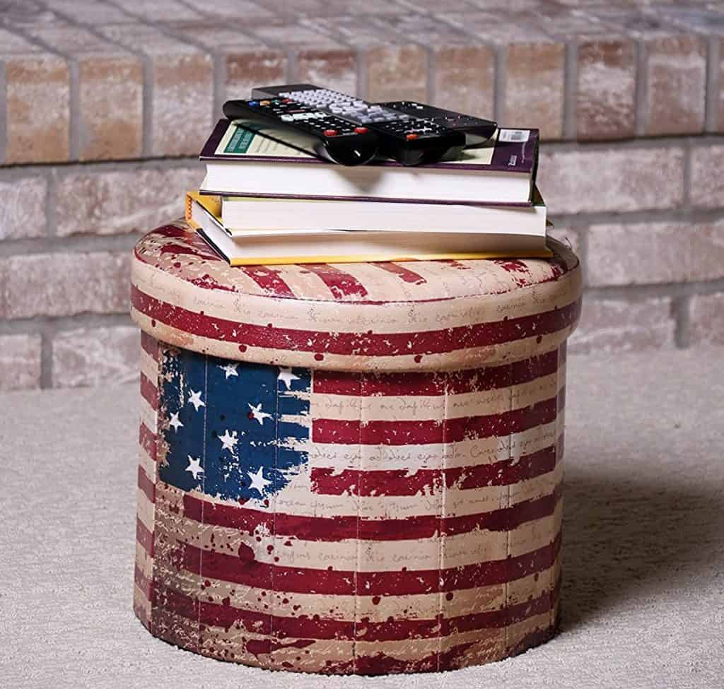 Premium Red, White, and Blue Circular American Flag Themed Folding Ottoman Storage Organizer