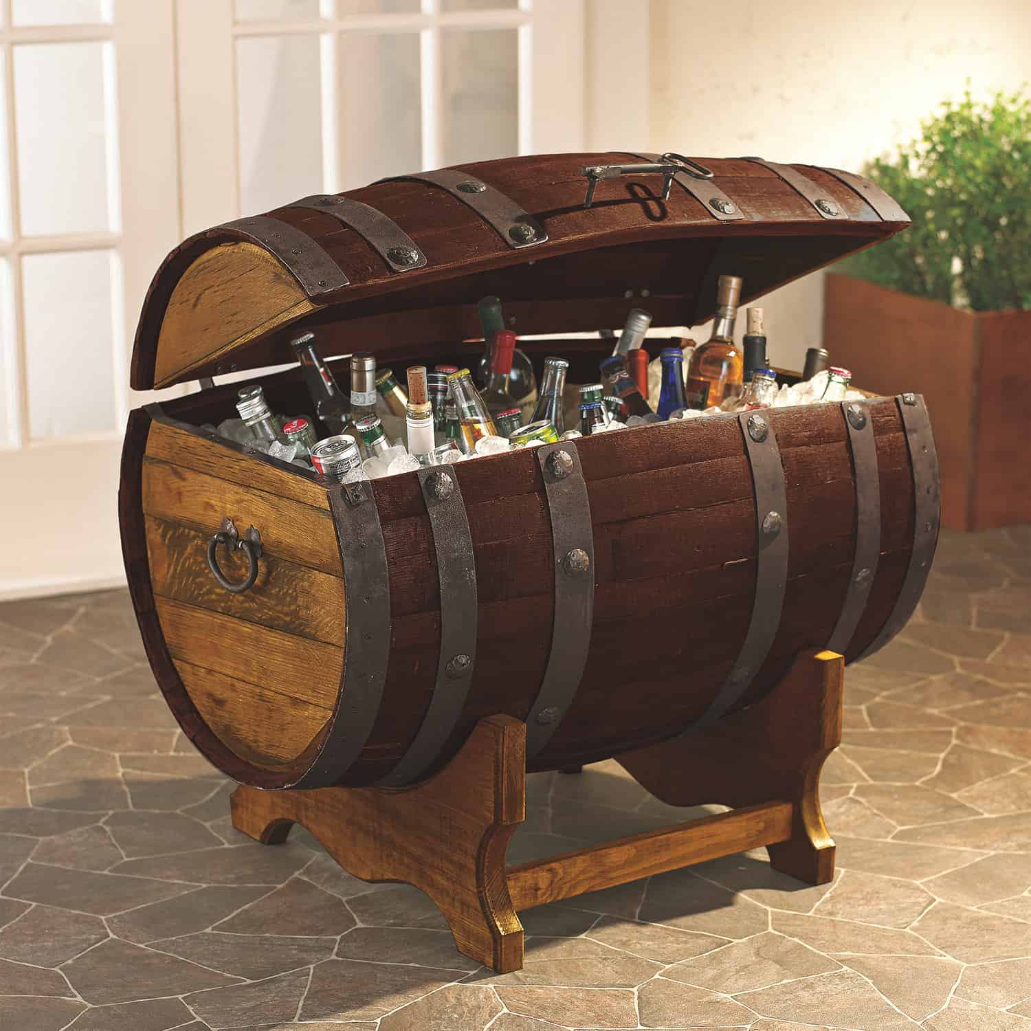 Reclaimed Tequila Barrel Ice Chest and Stand (Large)