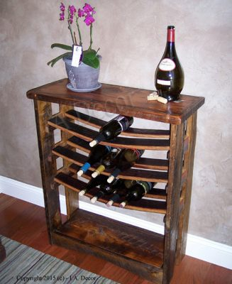 Reclaimed wood and wine stave wine rack
