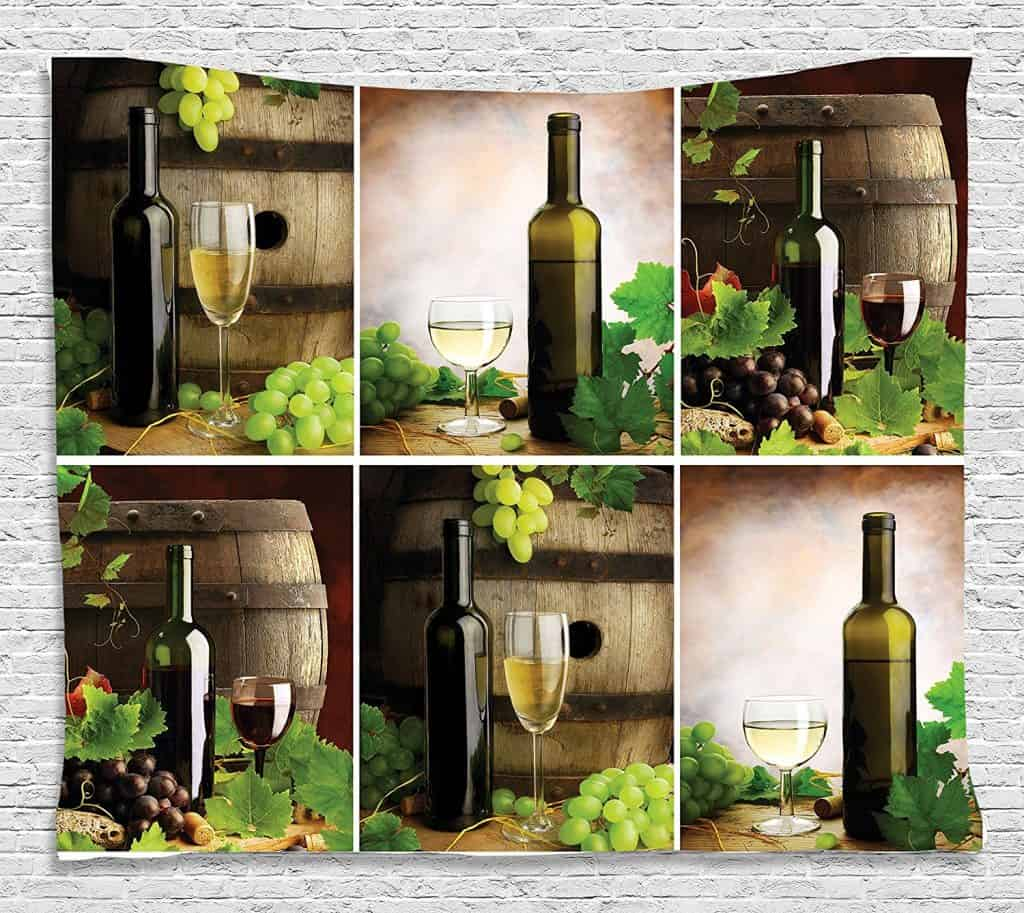 Red and White Wine Barrels Bottles Glasses Grapes and Leaves