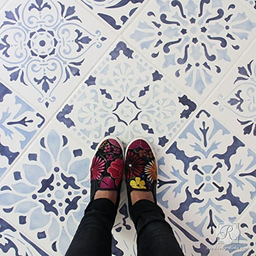 Renassiance Tile Stencils (Set of 3) Tiled Designs for Painting Faux Tile Patterns