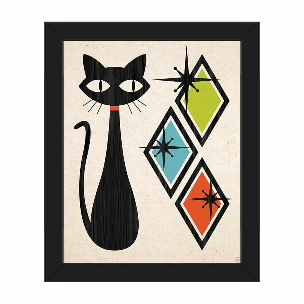 Retro Cat With Diamonds