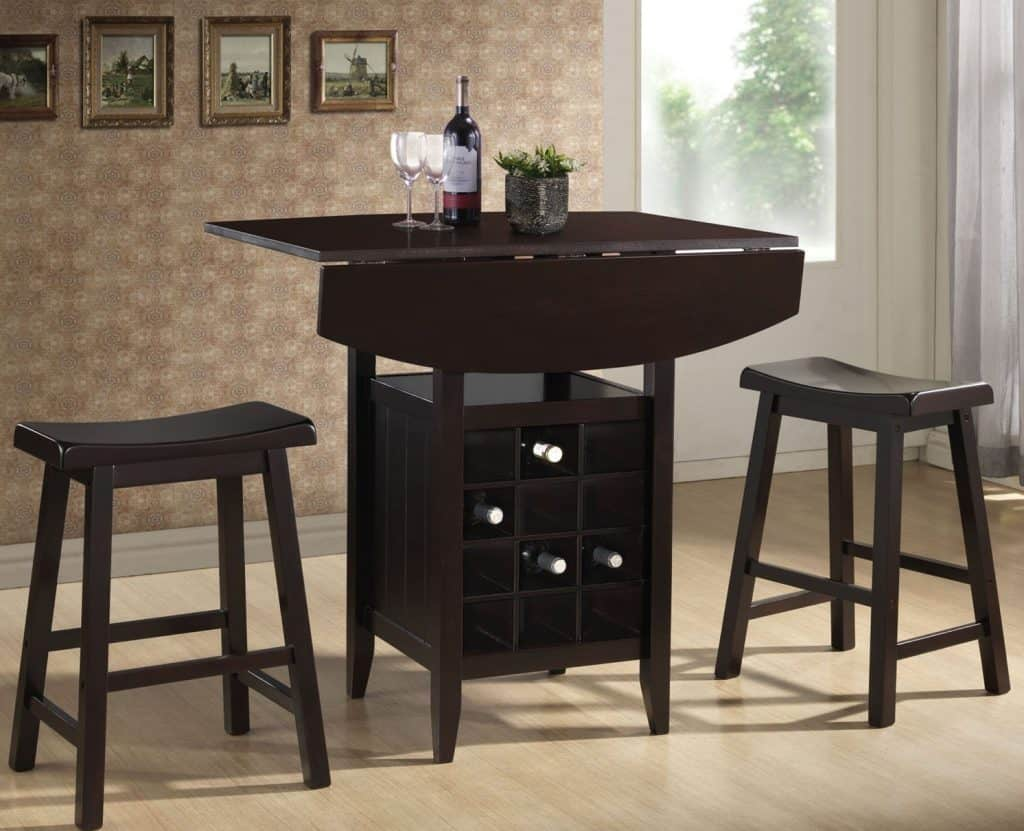 Reynolds Black Wood Modern Drop-Leaf Pub Set with Wine Rack