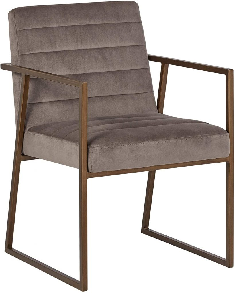 Rivet Allie Velvet Industrial Mid-Century Dining Kitchen Chair