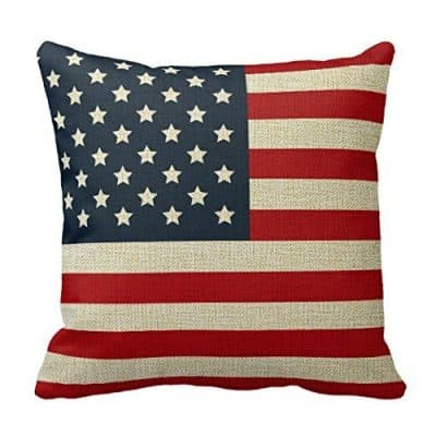 Romantichouse Cotton Linen Square Decorative Patriotic American Flag Red White Blue Pillowcase