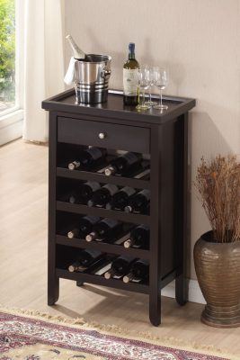 Roundhill Furniture Wood Wine Cabinet with Serving Tray