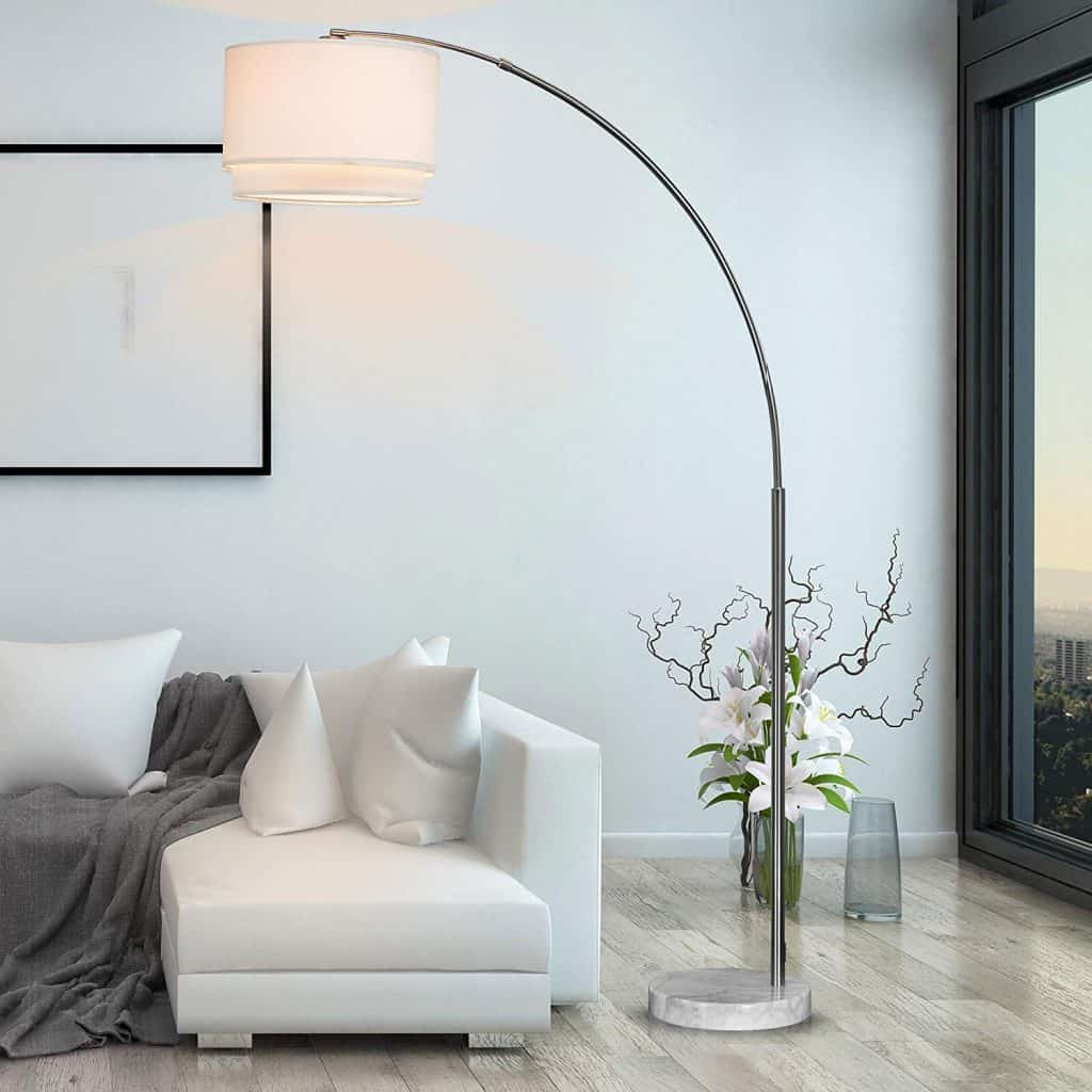 SH Lighting Brush Steel Arching Floor Lamp with White Marble Base