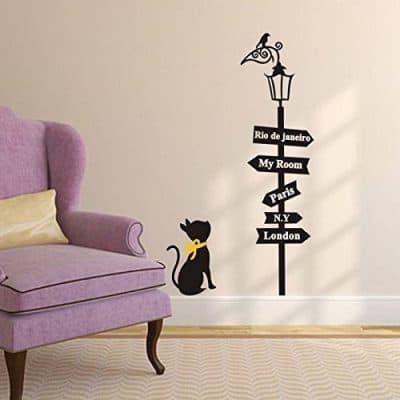 SOWRNA Animal Series Cat Looking At the Street Lamp