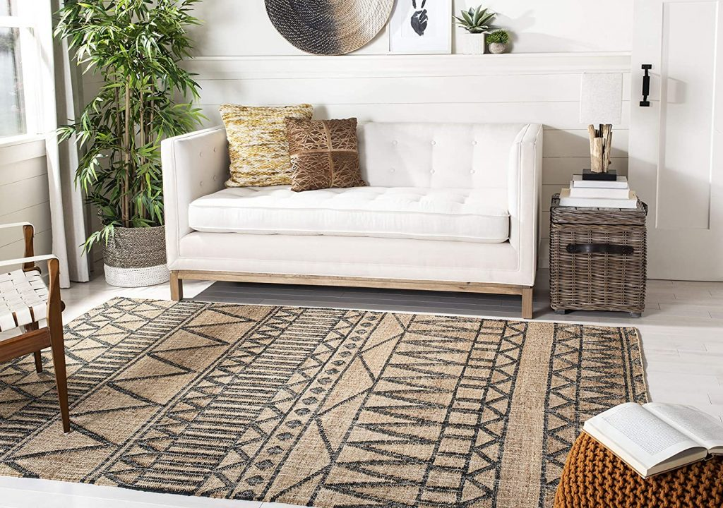 Safavieh KLM752A-5 Kilim Collection KLM752A Natural and Charcoal Premium Wool (5' x 8') Area Rug