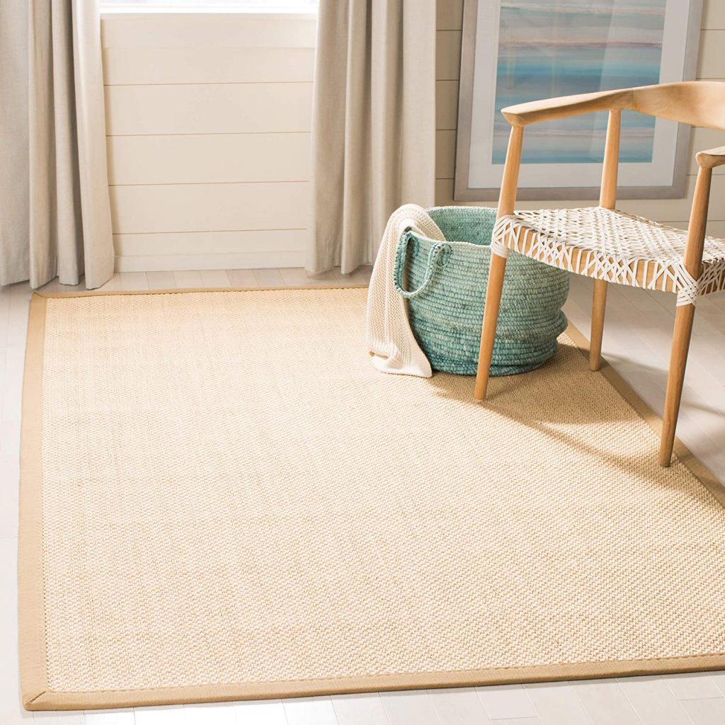 Safavieh Natural Fiber Collection NF141B Tiger Paw Weave Maize and Linen Sisal Area Rug