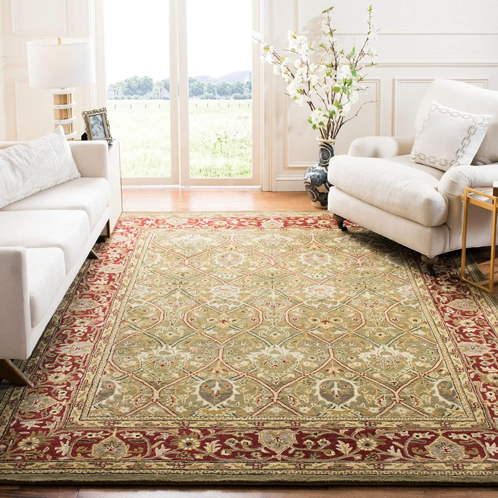 Safavieh Persian Legend Collection PL819B Handmade Traditional Light Green and Rust Wool Area Rug