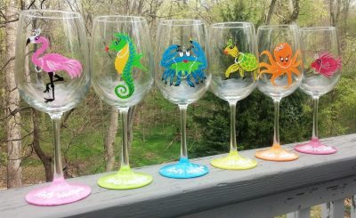 Seashore Girls weekend Party hand painted wine glasses