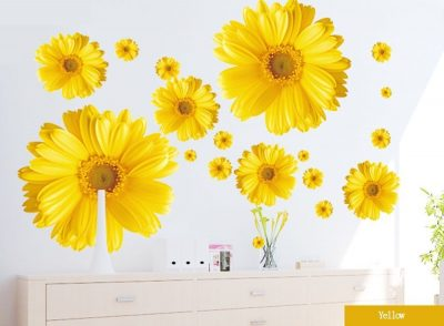 Set of 9 Yellow Chrysanthemums Daisy Flowers Wall Sticker
