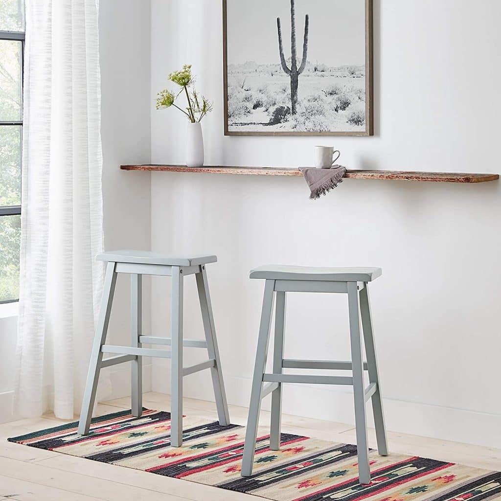 Stone & Beam Casual Geometric Kilim Cotton Runner Rug, 2' 6 x 8', Flatweave, Blue, Orange, Ivory