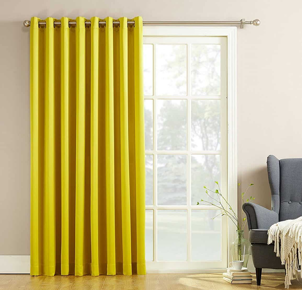 Sun Zero Millennial Becca Extra Wide Energy Efficient Patio Curtain Panel, 100 by 84 Inch, Solid, Citrine