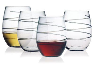 Susquehanna Glass Spiral Stemless Wine Glasses