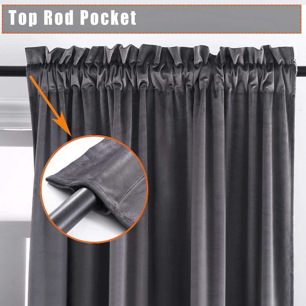 Thermal Insulated Solid Heavy Rod Pocket Window Drapes