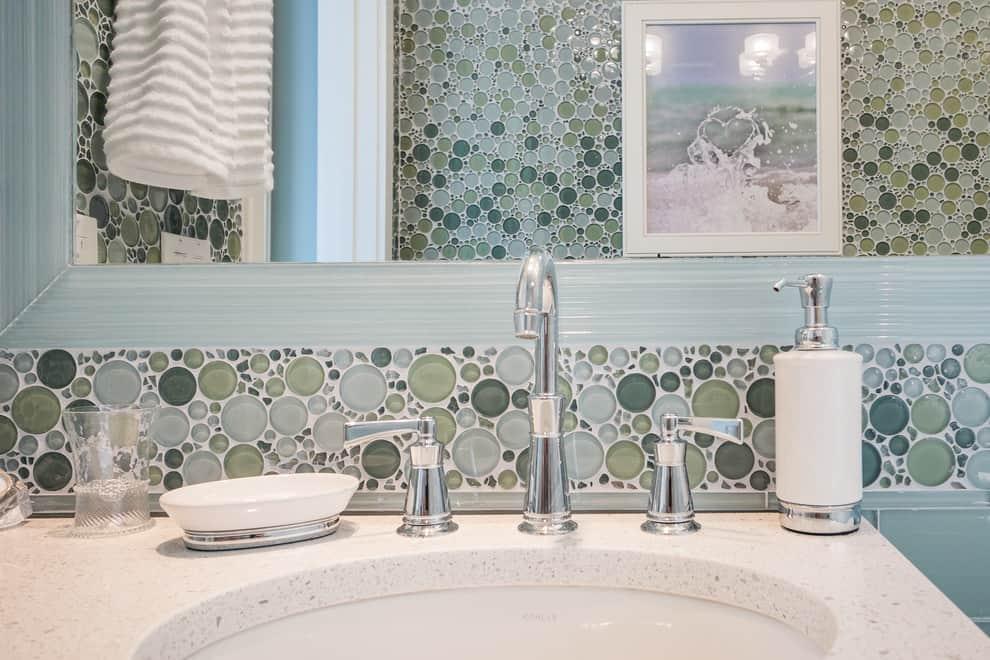 Tile Backsplash Embedded Mirror - closeup