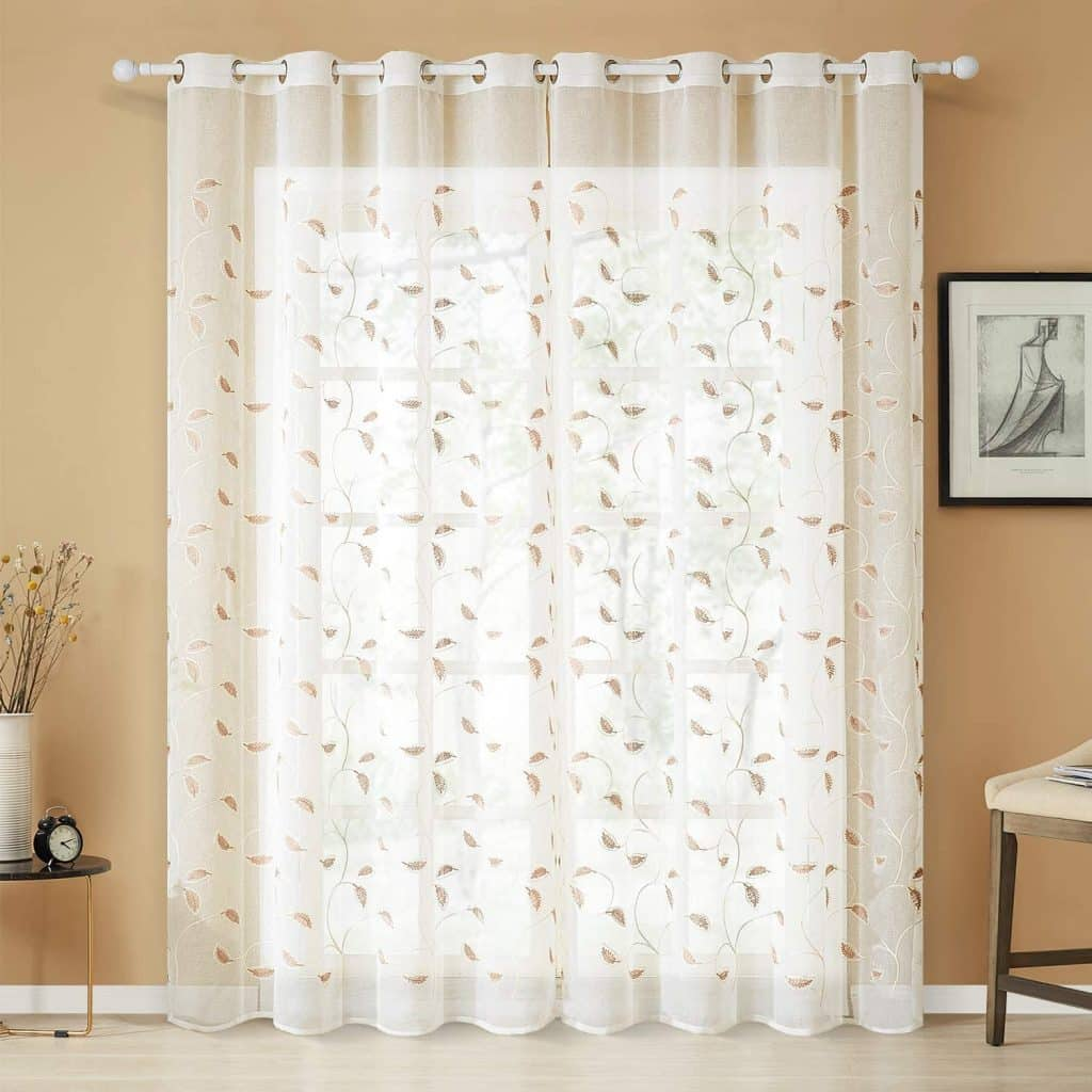 Top Finel White Sheer Curtains 90 Inches Long Brown Embroidered Leaves Grommet Window Curtains for Living Room Bedroom, 2 Panels