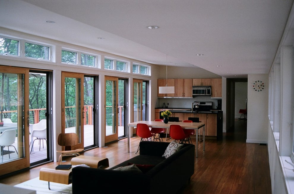 Traditional sliding glass patio doors are