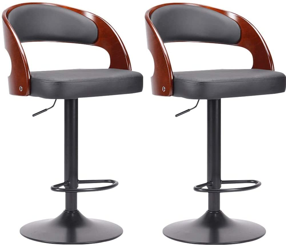 Zjyfyfyf Set of 2 Bar Stools Upholstered Seat with Backrest and Metal Legs Kitchen Breakfast Bar Stools (Color : Black)