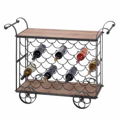 Urban Designs Aged Wooden Rolling 35 Bottle Display Kitchen Cart Wine Rack