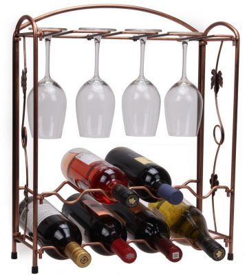 Vintage Bronze Metal Tabletop Wine Rack,KMM Stemware Racks Hold 8 Wine Bottles 4 Wine Glasses