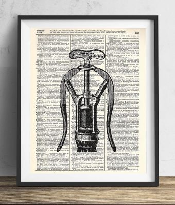 Vintage Corkscrew Illustration Upcycled Dictionary Art Print