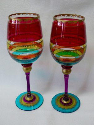 Vintage Pair of Hand Painted Wine Glasses