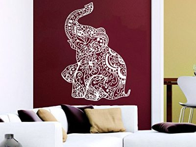 Wall Decal Elephant Vinyl Sticker Decals Lotus Indian Elephant Floral Patterns