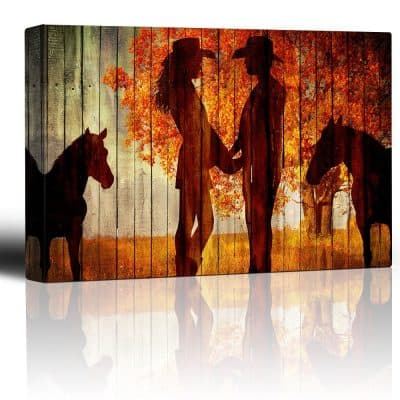 Wall26 - Country Scene with the Silhoutte of Horses and A Couple Holding Hands