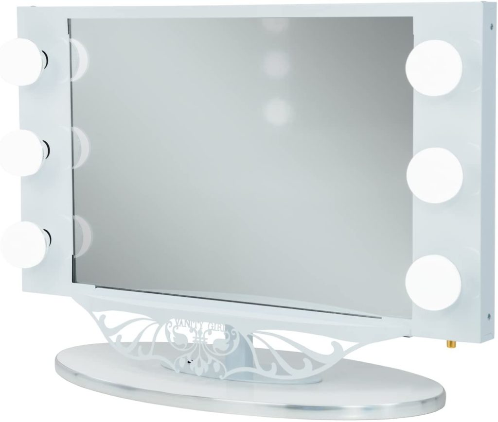 White Vanity Girl Starlet Lighted Vanity Mirror