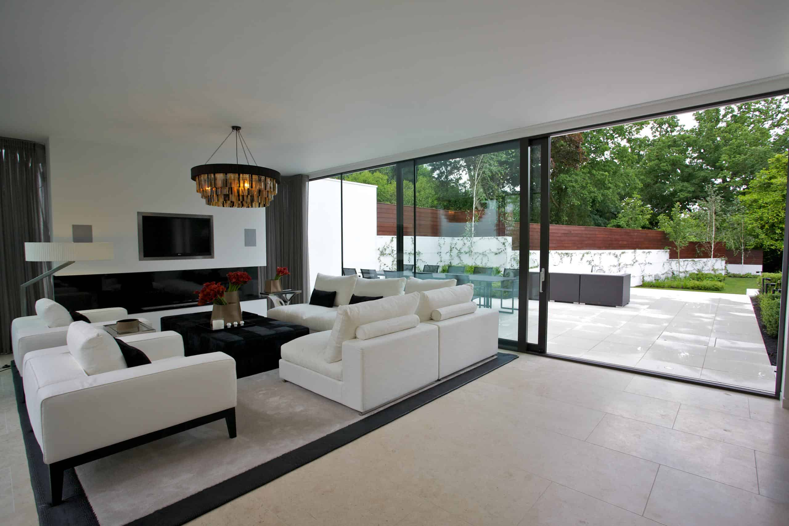 Wide sliding glass patio doors are