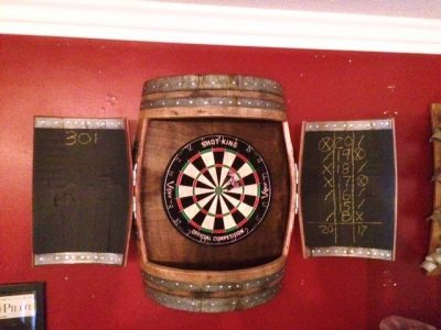 Wine Barrel Dartboard Cabinet