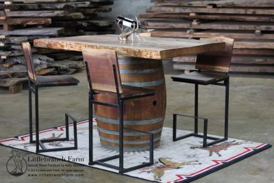 Wine Barrel Pub Table with Live Edge Young Growth Redwood Table Top