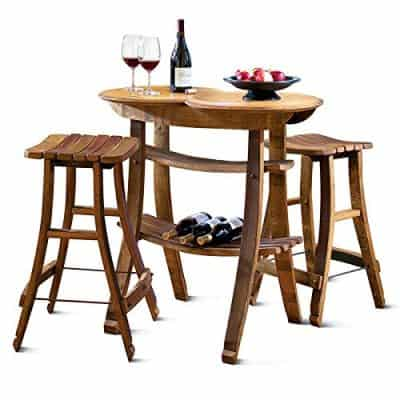 Wine Barrel Stave Table and 2 Stools