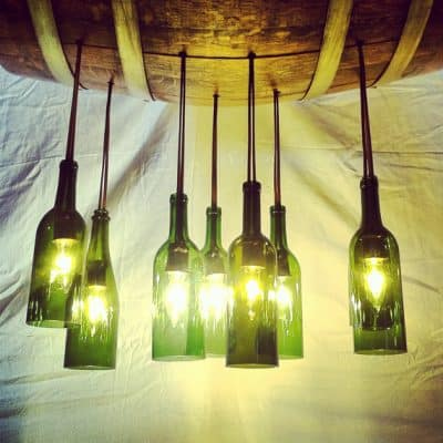Wine Bottle Chandelier Up-cycled from Aged Oak Wine Barrel And Wine Bottles