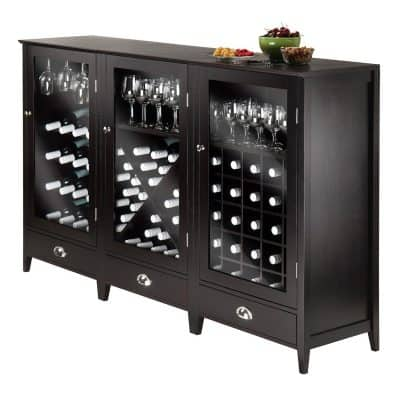 Winsome Wood 3-Piece Wine Cabinet Modular Set
