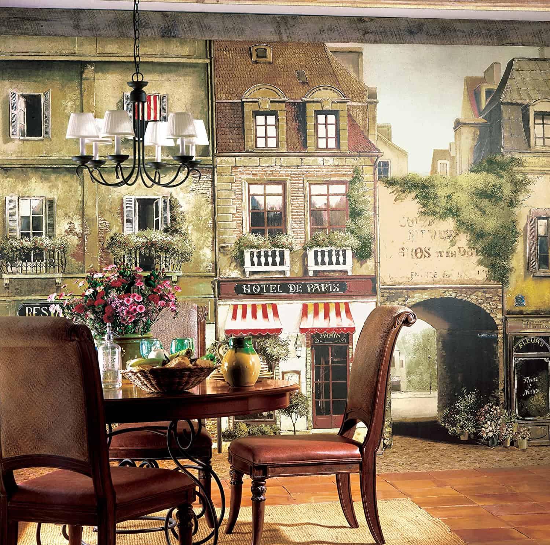 York Wallcoverings Europa II Paris Cafe Prepasted Mural, Earthy BrownsStone GrayRedWhiteBlack