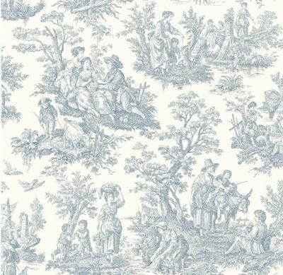 York Wallcoverings WA7830 Waverly Classics Country Life Wallpaper, Pure WhiteDelft Blue