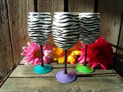 Zebra Hand painted wine glasses
