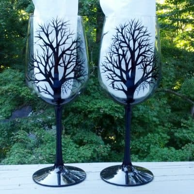 black tree silhouette hand painted wine glasses